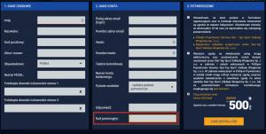 formularz z polem na kod